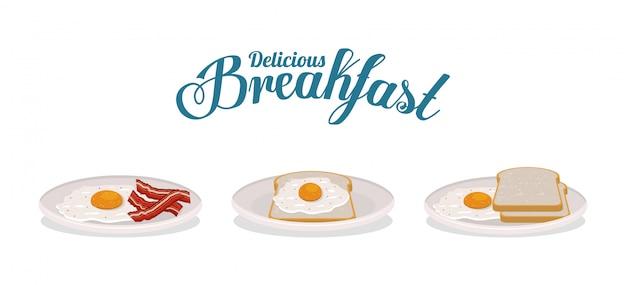 Śniadaniowy jajeczny chleb i bekonowy projekt, karmowego posiłku świeżego produktu naturalna targowa premia i kulinarna tematu wektoru ilustracja