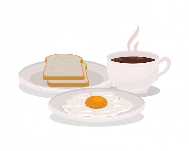 Śniadaniowy jajka i chleba projekt, karmowego posiłku świeżego produktu naturalna targowa premia i kulinarna tematu wektoru ilustracja