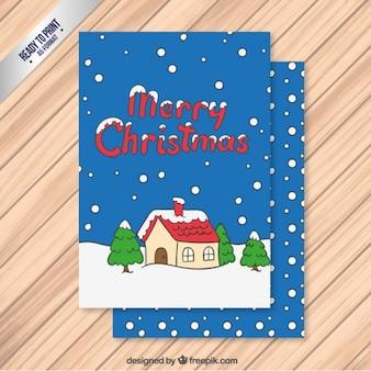 Śnieg cartoon boże narodzenie kartkę z życzeniami