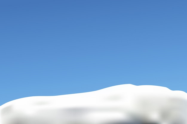 Śnieg i błękitne niebo