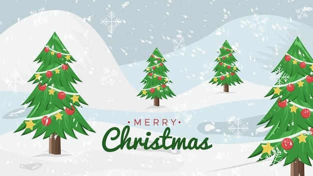Śnieg krajobraz świąteczny prezent w tle