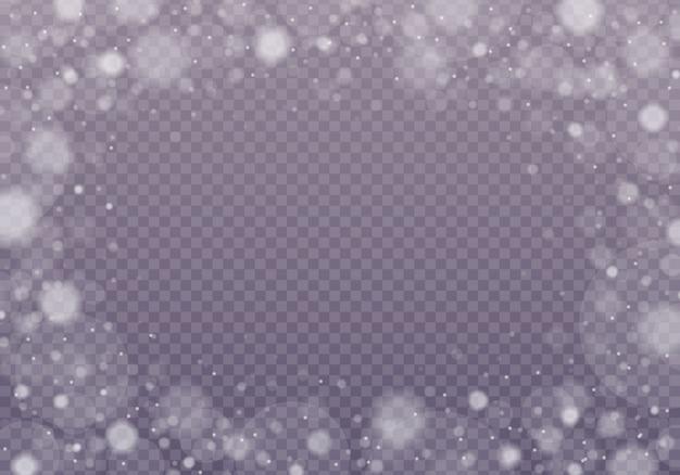 Śnieg, lśniące bokeh na przezroczystym tle.