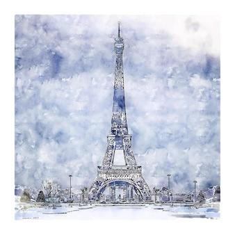 Śnieg paryż francja szkic akwarela ręcznie rysowane ilustracja