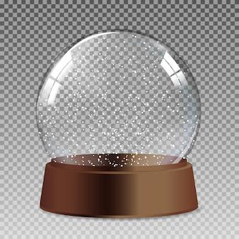 Śnieg realistyczny przezroczysty szklany globus na prezent na boże narodzenie i nowy rok.