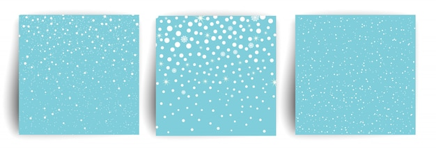 Śnieg w tle. zestaw szablonu kartki świąteczne pozdrowienia dla ulotki, baner, zaproszenie, gratulacje. bożenarodzeniowy tło z płatkami śniegu. ilustracja.