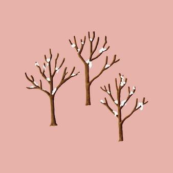 Śnieg zakrywał drzewa w zimy ilustraci