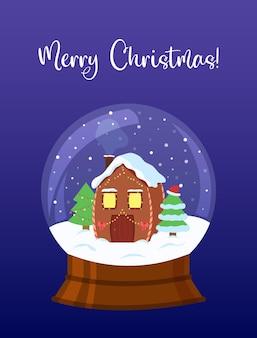 Śnieżka z dekorowanym domem i drzewami świąteczna kartka z życzeniami kryształowa kula śniegu na białym tle