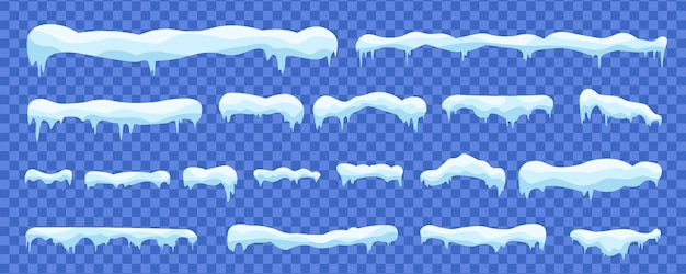 Śnieżki i zaspy śnieżne zimowe dekoracje śnieżne elementy.