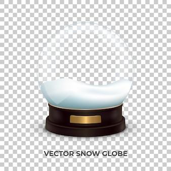 Śnieżna kula. realistyczna śnieżna kula ziemska z śniegiem