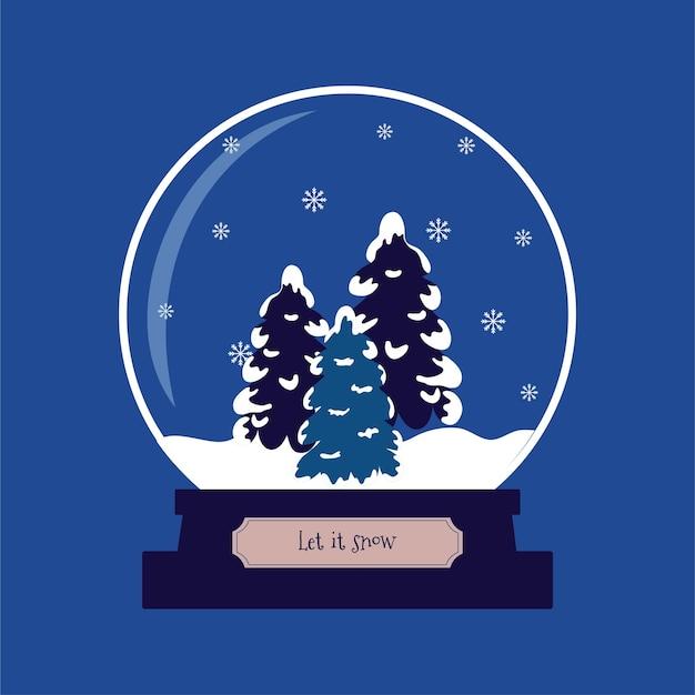 Śnieżna kula z choinkami i płatkami śniegu w środku niech znak śniegu