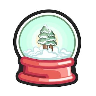 Śnieżna kula z ośnieżoną zimową sosną