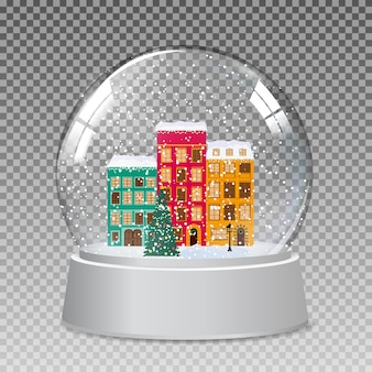 Śnieżna kula ziemska z małym miasteczkiem zimą na prezent na boże narodzenie i nowy rok. wektor