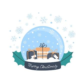 Śnieżna kula ziemska z prezentami i płatkami śniegu