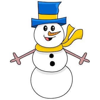 Śnieżna lalka doodle obraz ikona. rysowanie naklejek z rysunkami