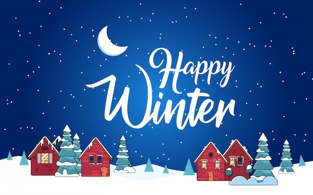 Śnieżna noc w przytulnym świątecznym mieście z banerem