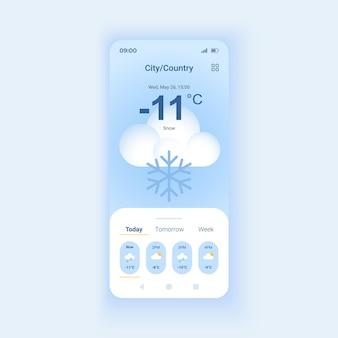 Śnieżna prognoza pogody w trybie dziennym szablon wektor interfejsu smartfona