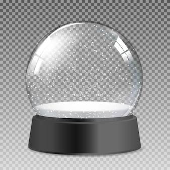 Śnieżna realistyczna przezroczysta szklana kula ziemska na prezent na boże narodzenie i nowy rok. ilustracja wektorowa