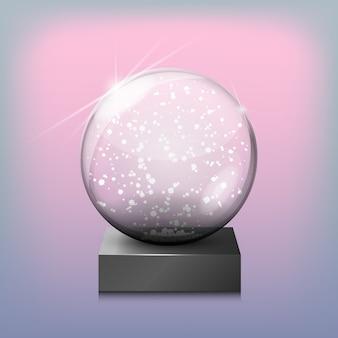 Śnieżna szklana przejrzysta piłka, wektorowa ilustracja na przejrzystym