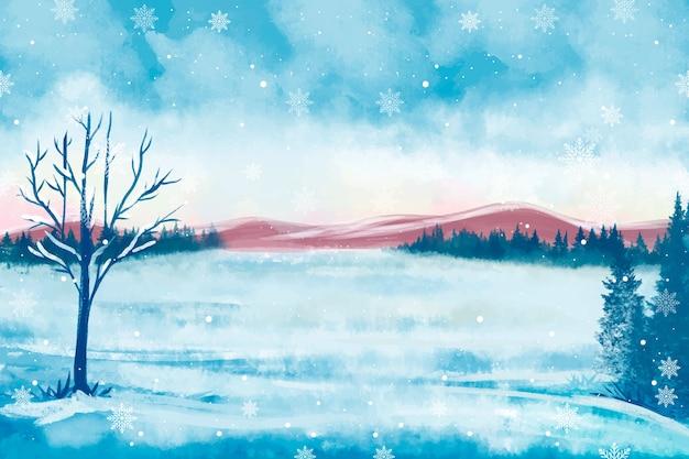 Śnieżna zimowa sceneria