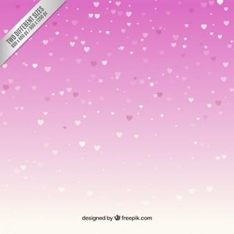 Śnieżne serca na różowym tle