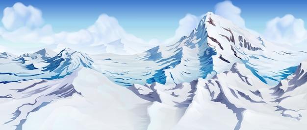 Śnieżne szczyty górskie w tle