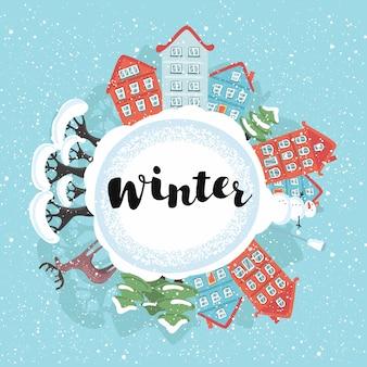 Śnieżny Krajobraz Miasta Kuli Ziemskiej Premium Wektorów