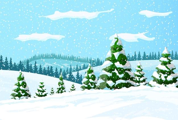 Śnieżny las tło