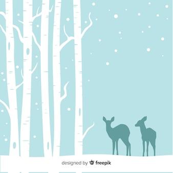 Śnieżny lasowy tło