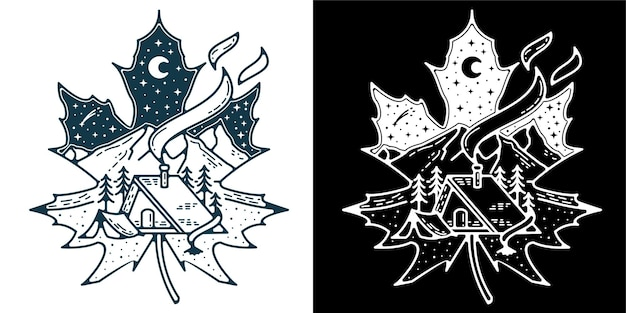 Śnieżny liść biały piękny widok logo monoline na odznakę logo tatuaż lub vintage retro