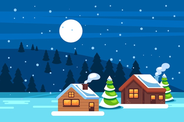Śnieżny zima krajobrazu tło