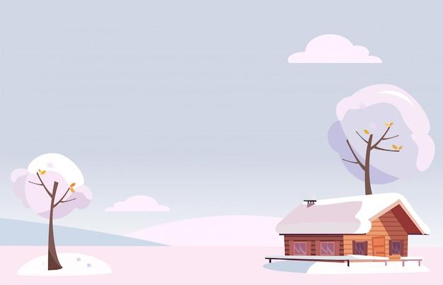Śnieżny zimowy krajobraz z małym wiejskim domem i ośnieżonymi drzewami na wzgórzach. boże narodzenie w stylu cartoon.