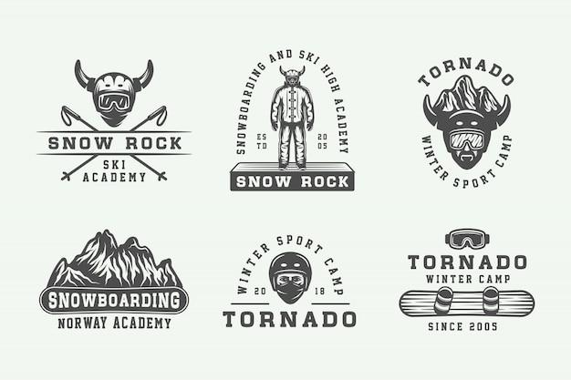Snowboard, narty lub logo, odznaki