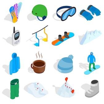 Snowboardowe ikony ustaw w izometryczny styl 3d na białym tle