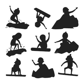 Snowboardzista skok sylwetka w różnych pozie wektor.