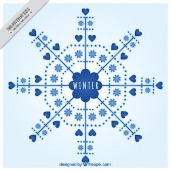 Snowflake tła z serca i kwiaty