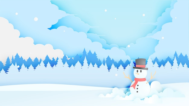 Snowman and winter landscape with paper art style and pastel colour scheme