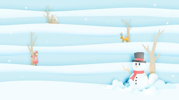 Snowman i urocza dziewczyna i droga z pejzażu śniegu w stylu sztuki papieru