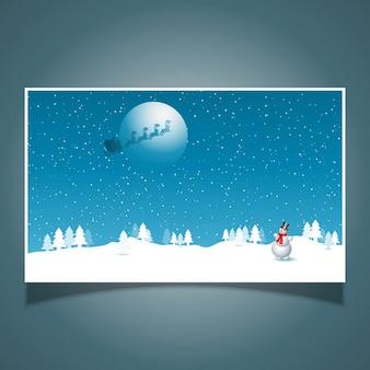 Snowman z santa w niebie