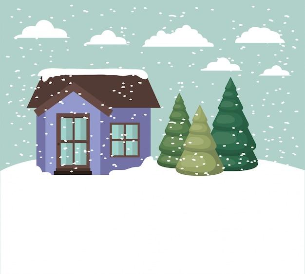 Snowscape z uroczym domem