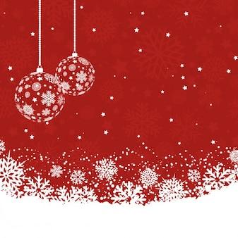 Snowy czerwonym tle christmas
