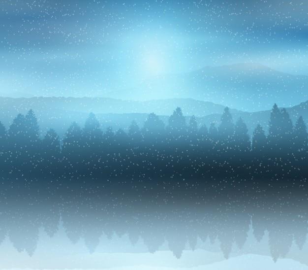 Snowy zimowy krajobraz