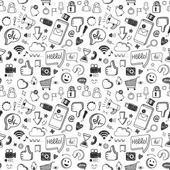 Social media doodles sieć internet technologia komputerowa marketing cyfrowy bez szwu wzór