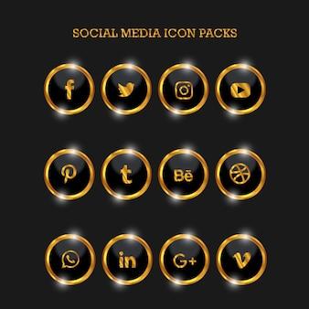 Social media icon packs circle gold