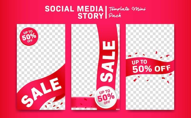 Social media instagram opowieść promocyjna wyprzedaż z różową wstążką szablon transparent