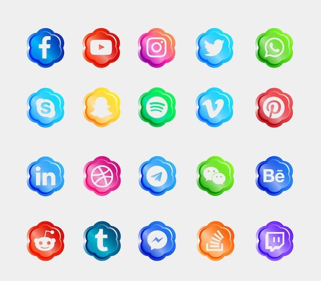 Social media logo błyszczące ikony przycisków 3d zestaw kolekcji