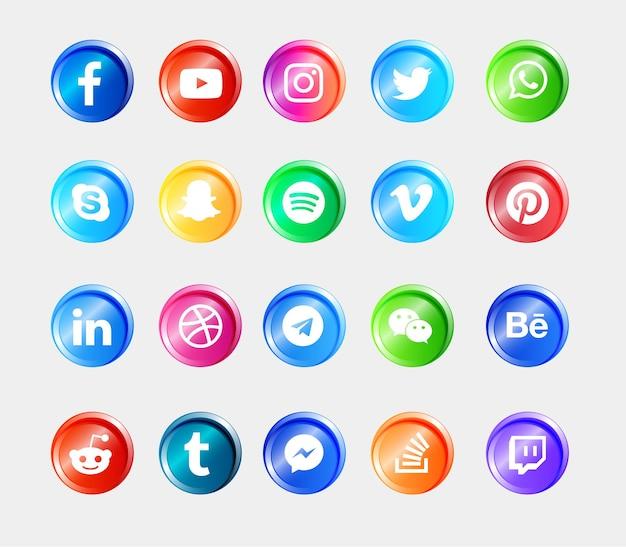 Social media logo błyszczące przyciski ikony zestaw kolekcji