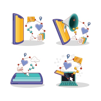 Social media marketing ikony wektor ilustracja projektu
