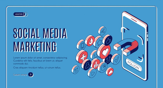 Social media marketing izometryczny baner internetowy.