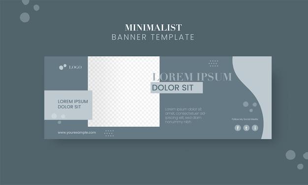 Social media minimalistyczny baner lub projekt szablonu z miejscem na obraz produktu.