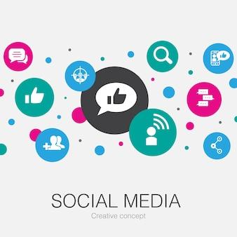 Social media modny szablon koło z prostymi ikonami. zawiera takie elementy jak polub, udostępnij, obserwuj, komentarze